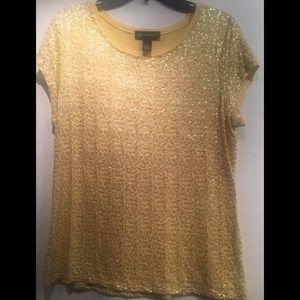Gold Sequin Short Sleeve Shirt Size XL by INC